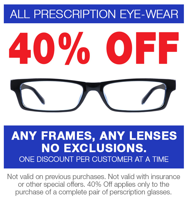 40% off eye glasses