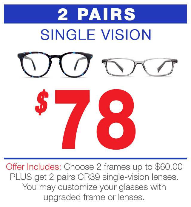 2 pair of eyeglasses cr39 for 78 dollars